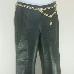 Leather Pants Straight Leg Black Lined Zip